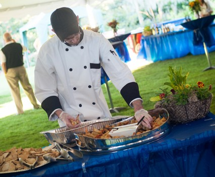 Chef Dave at a fundraiser oyster roast.